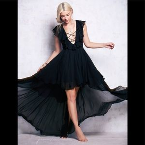 New black ruffled high low hem dress tie up bust